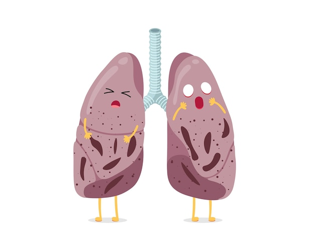 Kranke ungesunde cartoon-lungencharakter-tuberkulose-virus-krankheit des menschlichen atmungssystems intern