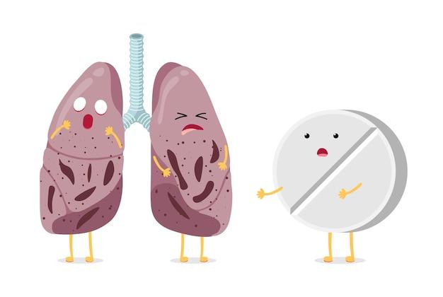 Kranke ungesunde cartoon-lungencharakter-tuberkulose-virus-krankheit mit antibiotika-apotheke