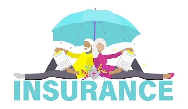 Kranken- und krankenversicherungskonzept für das wohlbefinden älterer menschen. seniorenpaare mit versicherungspolice und schutzschirm. flache vektorillustration.