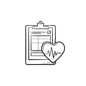 Krankenakte mit herzschlagfrequenz und gesundheitstests handgezeichnetes umriss-doodle-symbol. gesundheitskonzeptvektorskizzenillustration für druck, netz, mobile und infografiken lokalisiert auf weißem hintergrund.