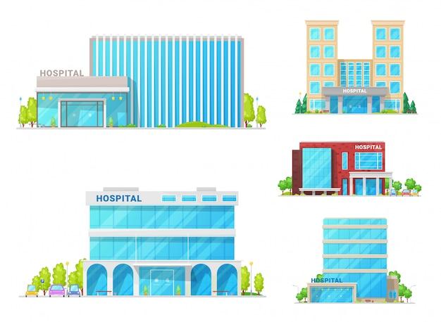 Krankenhäuser, medizinische kliniken und krankenwagen