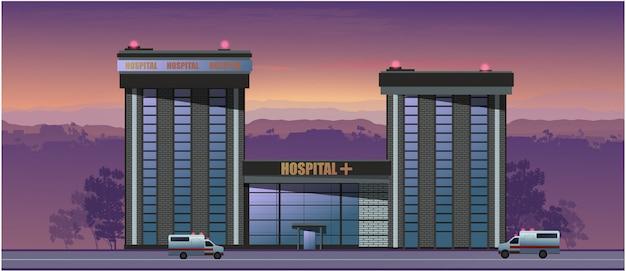 Krankenhaus bei sonnenuntergang.