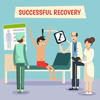 Krankenhaus-doktor-patienten-flaches plakat