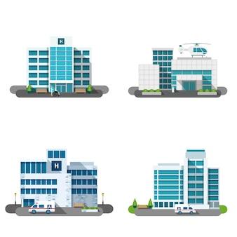 Krankenhaus-gebäude-set