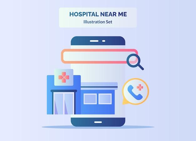 Krankenhaus in meiner nähe lupe auf smartphone-bildschirm