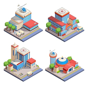 Krankenhaus isometrische icons set