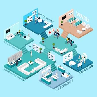 Krankenhaus isometrische schema icons