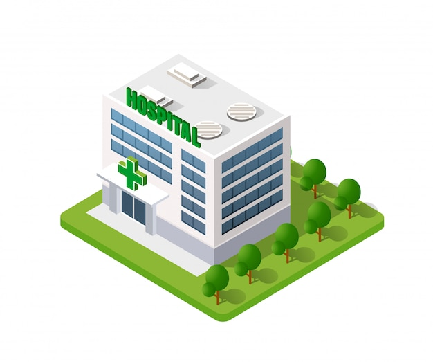 Krankenhaus isometrisches gebäude 3d
