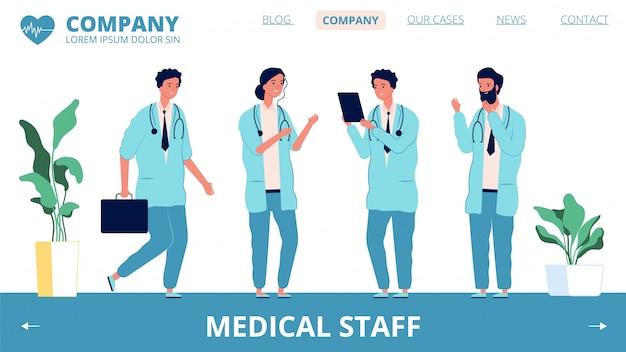 Krankenhaus-landingpage. charaktere des medizinischen personals. verschiedene banner-vorlage für ärzte und gesundheitspersonal