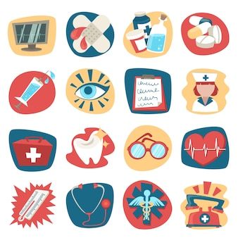 Krankenhaus medizinische gesundheit erste hilfe symbole gesetzt isoliert vektor-illustration