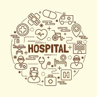 Krankenhaus minimale dünne linie icons set