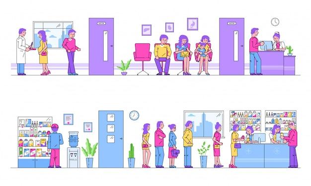 Krankenhaus oder apotheke leute schlange für behandlung gesundheitswesen cartoon illustration.