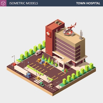 Krankenhaus oder krankenwagengebäude. isometrische flache art illustration.