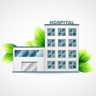 Krankenhaus-symbol mit grünen blättern