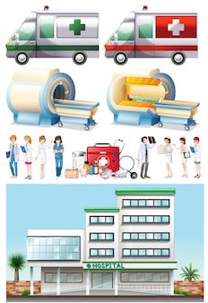 Krankenhaus und medizinische elemente