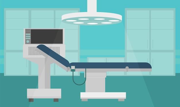 Krankenhaus-zimmer-innenraum-intensivtherapie-patienten-station-banner mit kopienraum-flacher vektor-illustration