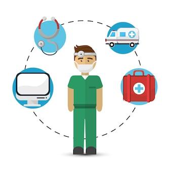 Krankenhausarzt mit seiner werkzeugikone