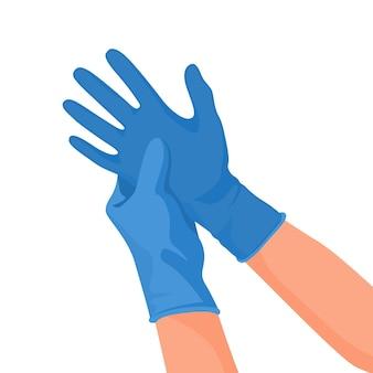 Krankenhausarzt trägt medizinische latexhandschuhe an den händen.