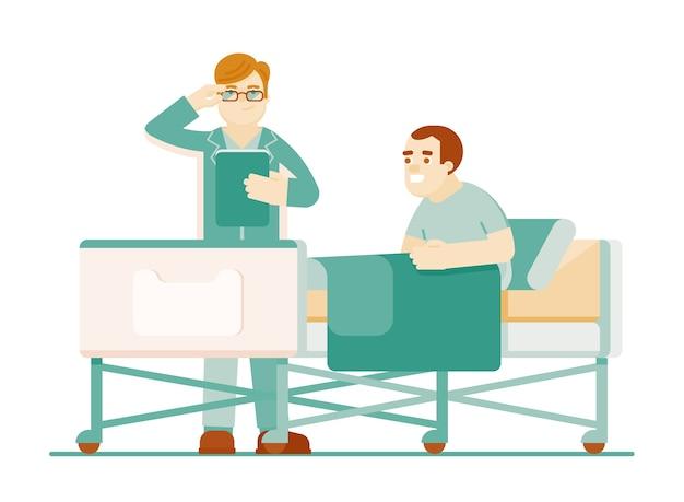 Krankenhausbehandlung des patienten. arzttherapeut, der den im bett liegenden patienten lokalisiert und berät, isoliert auf weißem hintergrund. behandlung in der klinikillustration
