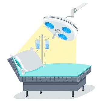 Krankenhausbett, operationslampe und intravenöse infusion mit tropfenzähler