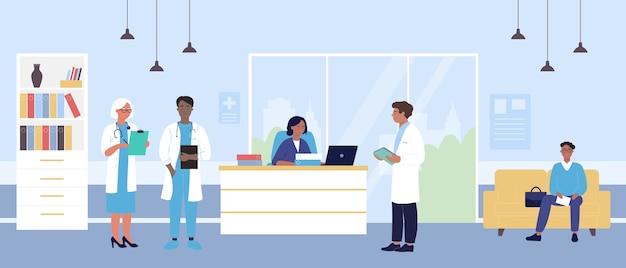 Krankenhausempfang mit arztcharakterteam, mannpatient, der im inneren der krankenhaushalle wartet
