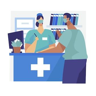 Krankenhausempfangsszene mit personen, die gesichtsmasken tragen
