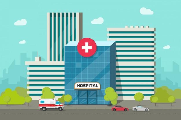 Krankenhausgebäude auf stadtstraße oder moderner medizinischer klinik