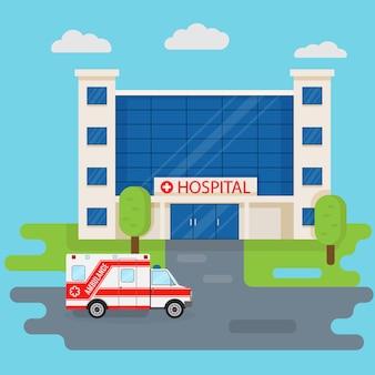 Krankenhausgebäude und krankenwagen im flachen stil. medizinisches konzept. medizin klinik front design