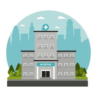 Krankenhausgebäude windows-türfassungskreuzbaum städtisch
