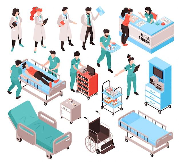 Krankenhausmitarbeiter der krankenschwester des isometrischen arztes stellten mit isolierten menschlichen zeichen in einheitlichen kleidern mit möbelartikelfigur fest
