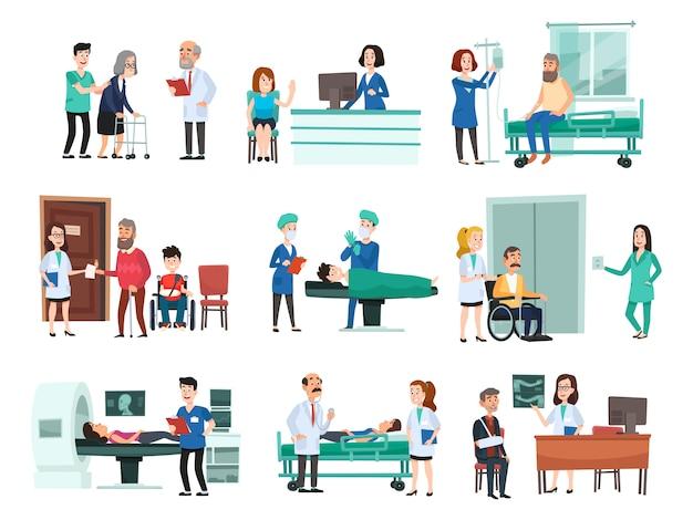 Krankenhauspatienten. krankenhauspatient auf krankenhausbett, krankenschwester und arzt helfen kranken menschen isolierte karikaturillustration