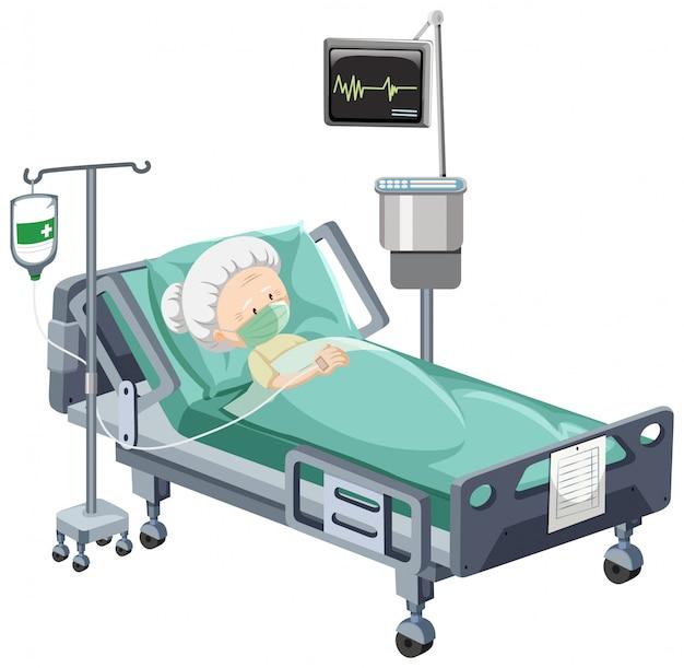 Krankenhausszene mit krankem patienten im bett auf weißem hintergrund