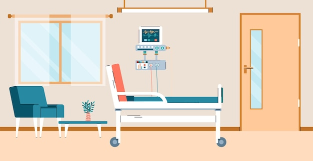 Krankenhauszimmer mit flacher karikaturvektorillustration des betts und der computerausrüstung