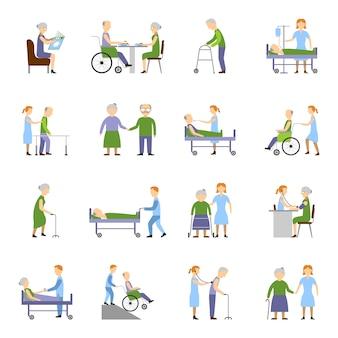 Krankenpflege ältere menschen icons set