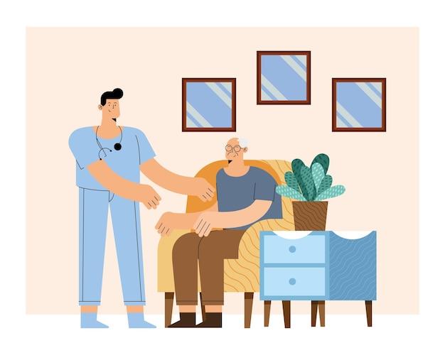 Krankenpfleger mit altem mann auf stuhl