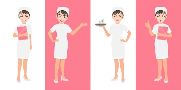 Krankenschwester-cartoon-zeichensatz