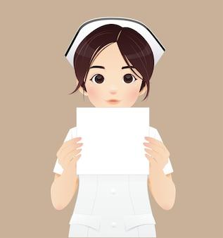 Krankenschwester, die eine fahne hält - getrennt über einem braunen hintergrund. vektorillustration und charakterdesign