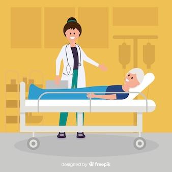 Krankenschwester, die geduldigen hintergrund hilft