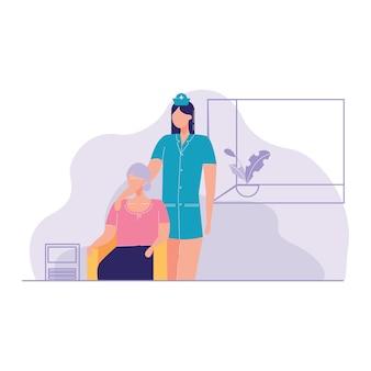 Krankenschwester, die kranke ältere patienten-hauptvektorillustration sich kümmert