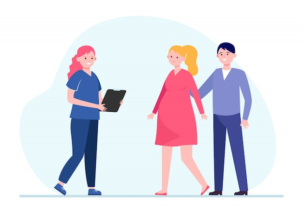 Krankenschwester, die schwangere frau berät