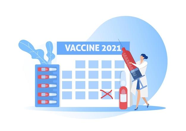 Krankenschwester hält injektion mit großem kalender für 2021 konzeptillustration