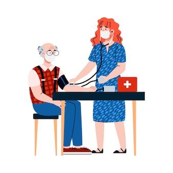 Krankenschwester hilft einem alten mann in isolierter vektorillustration in quarantäne