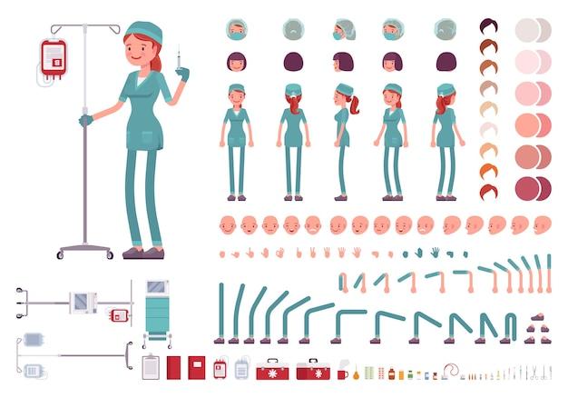 Krankenschwester im krankenhauscharakter-erstellungssatz