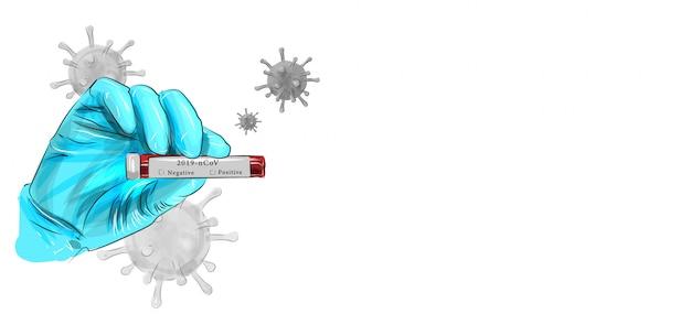 Krankenschwester in handschuhen mit dem ergebnis einer blutuntersuchung. konzept der selbstisolation. coronavirus, das konzept des kampfes gegen das virus, die gefahr und das risiko für die öffentliche gesundheit. viele virale angriffe.