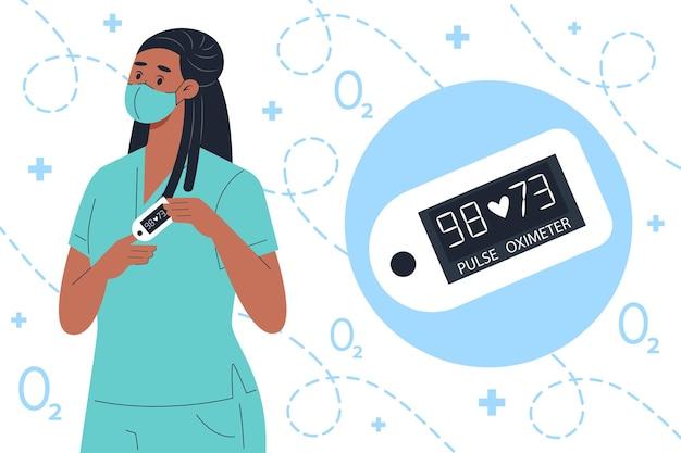 Krankenschwester in medizinischer maske mit fingerpulsoximetergerät
