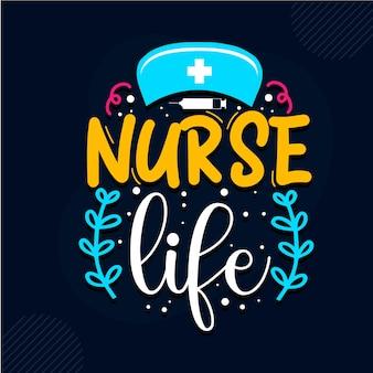 Krankenschwester leben krankenschwester zitiert design premium-vektoren