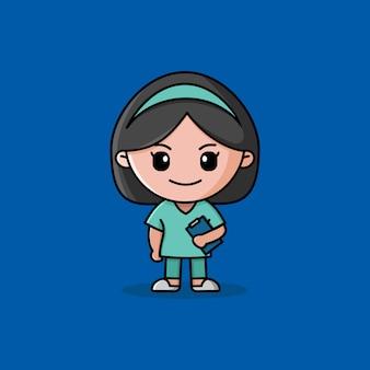 Krankenschwester-logo mit grünem maskottchen mit einheitlichem charakter