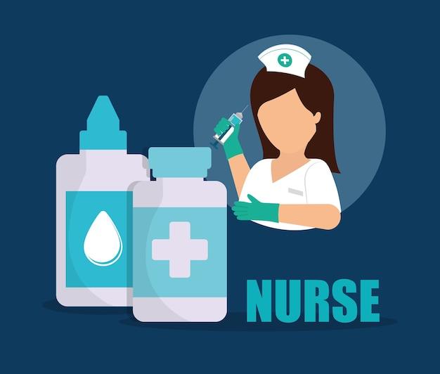 Krankenschwester medizinische augentropfen medizin flasche
