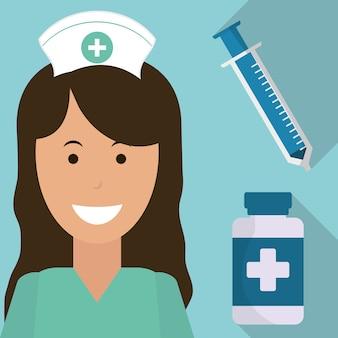 Krankenschwester medizinische spritze medizin flasche