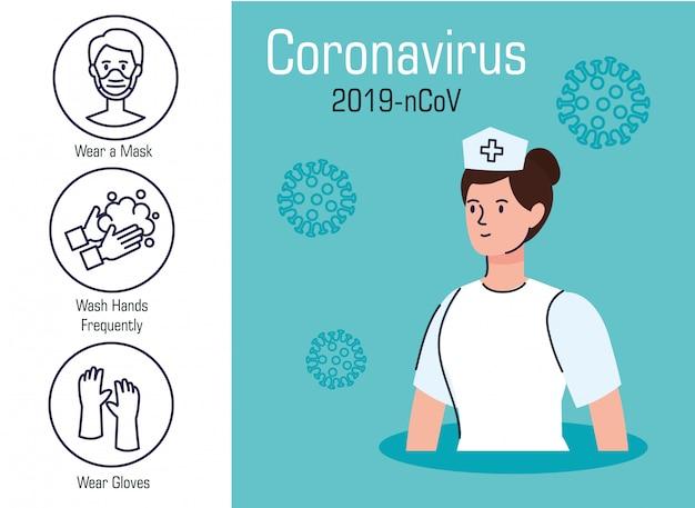 Krankenschwester mit empfehlung von 2019 ncov